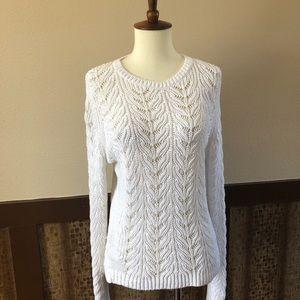 LOFT Chunky White Knit Cotton Sweater